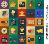 cinema  film  media 25 flat... | Shutterstock . vector #409110367
