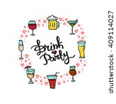 vector beverages doodle style... | Shutterstock .eps vector #409114027