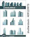 skyscraper logo building icon... | Shutterstock .eps vector #409119973
