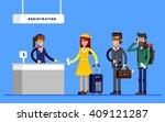 passengers in queue waiting...   Shutterstock .eps vector #409121287