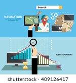 mobile gps navigation on phone... | Shutterstock .eps vector #409126417
