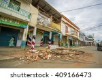 Small photo of Chone, Ecuador - April, 18, 2016: Two story house collapsed after 7.8 earthquake