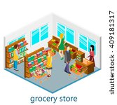 isometric intireor of grocery...   Shutterstock .eps vector #409181317