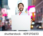 crazy businessman. surprised... | Shutterstock . vector #409193653