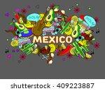 mexico line art design raster... | Shutterstock . vector #409223887
