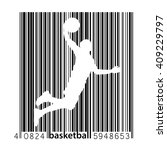 basketball player in a barcode... | Shutterstock .eps vector #409229797