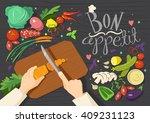 cartoon vegetables. bon appetit.... | Shutterstock .eps vector #409231123