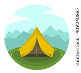 cartoon tent in a landscape of... | Shutterstock .eps vector #409240867