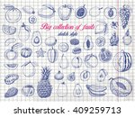 big collection of fruits on... | Shutterstock .eps vector #409259713