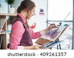 side view portrait of a young... | Shutterstock . vector #409261357