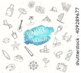 summer objects set. hand drawn... | Shutterstock .eps vector #409289677