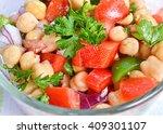 closeup on garbanzo bean salad
