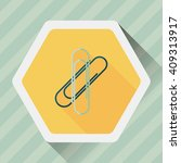 paperclip flat icon with long...
