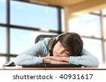 young caucasian woman sleeping... | Shutterstock . vector #40931617