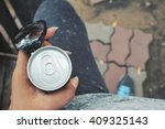selfie of hand and cola can... | Shutterstock . vector #409325143