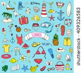 hand drawn doodle summer icons... | Shutterstock .eps vector #409326583