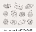 vintage bakery hand drawn... | Shutterstock .eps vector #409366687