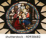 Small photo of Nativity scene, stained glass, Church of St. Catherine, Bethlehem