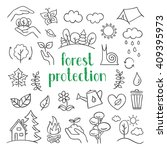 forest protection icons. hand... | Shutterstock .eps vector #409395973