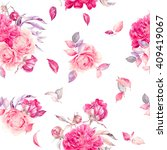 Stock photo seamless watercolor flower pattern 409419067