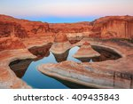reflection canyon on lake... | Shutterstock . vector #409435843
