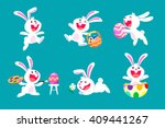Stock vector collection of white easter rabbit in different poses isolated 409441267