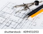 architect worplace top view. | Shutterstock . vector #409451053