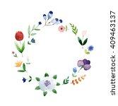 wreath border frame with summer ... | Shutterstock .eps vector #409463137