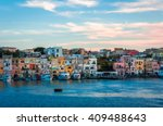 sunset lights at procida island | Shutterstock . vector #409488643
