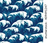blue waves in a stormy sea.... | Shutterstock .eps vector #409491247