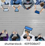 business team connection... | Shutterstock . vector #409508647
