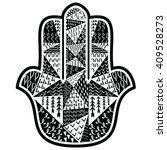 hamsa hand with floral aztec... | Shutterstock .eps vector #409528273