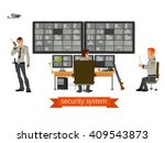 security room in with working... | Shutterstock .eps vector #409543873