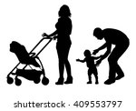 family with baby and pram on a... | Shutterstock .eps vector #409553797
