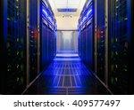 symmetrical data center room... | Shutterstock . vector #409577497