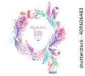 hand drawn vector painted frame ... | Shutterstock .eps vector #409606483