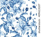 watercolor pattern with lily... | Shutterstock . vector #409613107