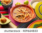 mexican tortilla soup and... | Shutterstock . vector #409664833