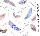 feathers pattern. watercolor... | Shutterstock . vector #409680013