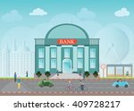 bank building exterior in city... | Shutterstock .eps vector #409728217