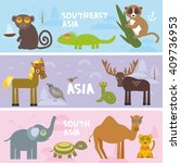 cute animals set elephant camel ... | Shutterstock .eps vector #409736953