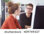 serious young businessman in a... | Shutterstock . vector #409749337