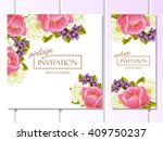 invitation with floral... | Shutterstock .eps vector #409750237