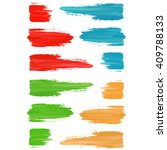 set of colored brush strokes of ... | Shutterstock .eps vector #409788133