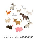 farm animals and pets set on... | Shutterstock . vector #409804633