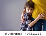 Sad Little Child  Boy  Hugging...