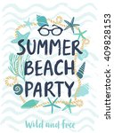 summer beach party hand drawn... | Shutterstock .eps vector #409828153