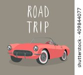 retro red car isolated. vector | Shutterstock .eps vector #409844077