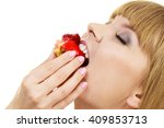 woman holds cake cupcake in... | Shutterstock . vector #409853713