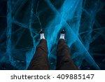 ice of lake baikal  olkhon ... | Shutterstock . vector #409885147